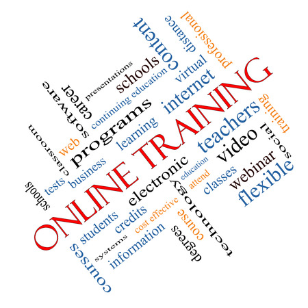 Online Training Word Cloud Concept angled with great terms such as electronic, education, video and more. photo