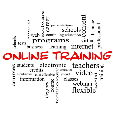 Online Training Word Cloud Concept in red caps with great terms such as electronic, education, video and more. photo