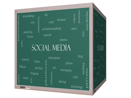 web presence internet presence: Social Media Word Cloud Concept on a 3D cube Blackboard with great terms such as network, follow, content and more. Stock Photo