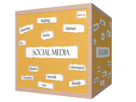Social Media 3D cube Corkboard Word Concept with great terms such as sharing, hashtag, mobile and more. Stock Photo