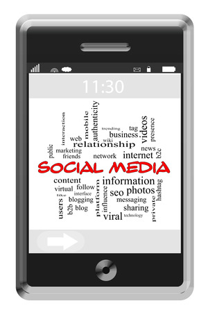 Social Media Word Cloud Concept on a Touchscreen Phone with great terms such as follow, sharing, internet and more.