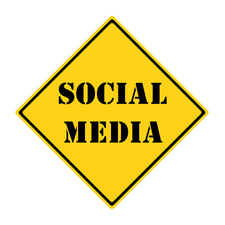 A yellow and black diamond shaped road sign with the words SOCIAL MEDIA making a great concept.