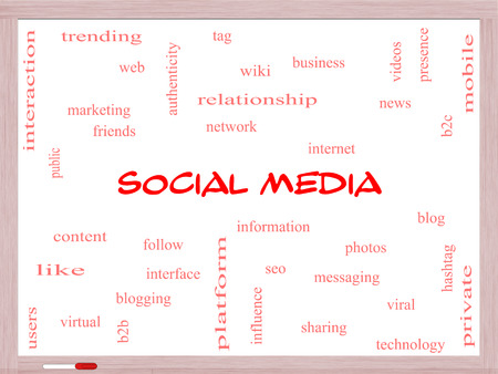 web presence internet presence: Social Media Word Cloud Concept on a Whiteboard with great terms such as network, follow, content and more.