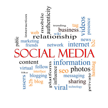 web presence internet presence: Social Media Word Cloud Concept with great terms such as network, follow, content and more. Stock Photo