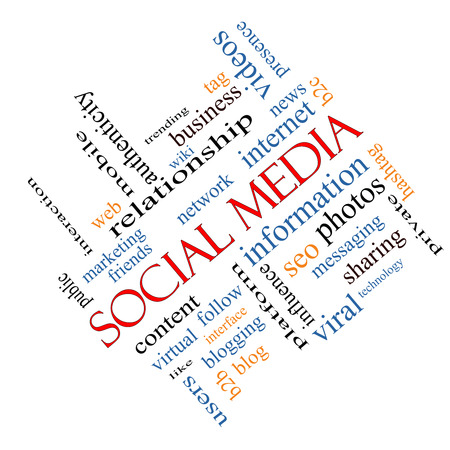 web presence internet presence: Social Media Word Cloud Concept angled with great terms such as network, follow, content and more.