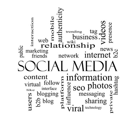 web presence internet presence: Social Media Word Cloud Concept in black and white with great terms such as network, follow, content and more.