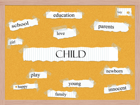 Child Corkboard Word Concept with great terms such as education, innocent, family and more. Stock Photo