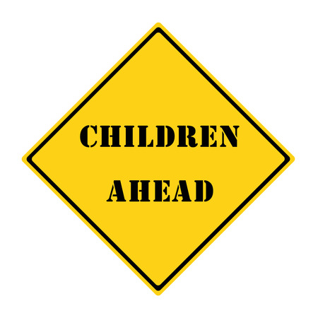 diamond shaped: A yellow and black diamond shaped road sign with the words CHILDREN AHEAD making a great concept. Stock Photo