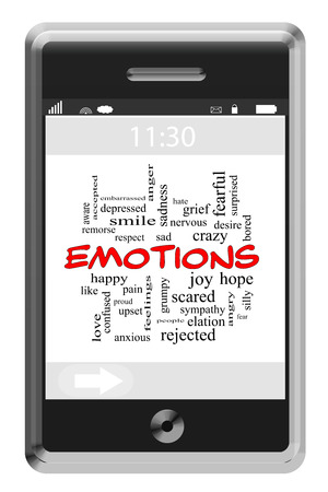 elation: Emotions Word Cloud Concept on a Touchscreen Phone with great terms such as happy, sad, fearful and more.