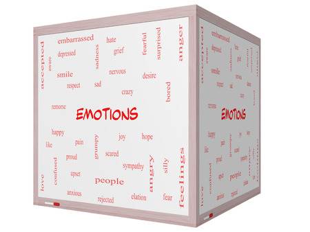 Emotions Word Cloud Concept on a 3D cube Whiteboard with great terms such as sad, happy, joy and more. Imagens