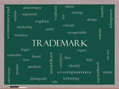 Trademark Word Cloud Concept on a Blackboard with great terms such as brand, logo, legal and more. photo
