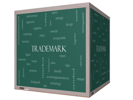 consumer rights: Trademark Word Cloud Concept on a 3D cube Blackboard with great terms such as brand, logo, legal and more. Stock Photo