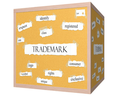 consumer rights: Trademark 3D cube Corkboard Word Concept with great terms such as rights, logo, symbol and more.