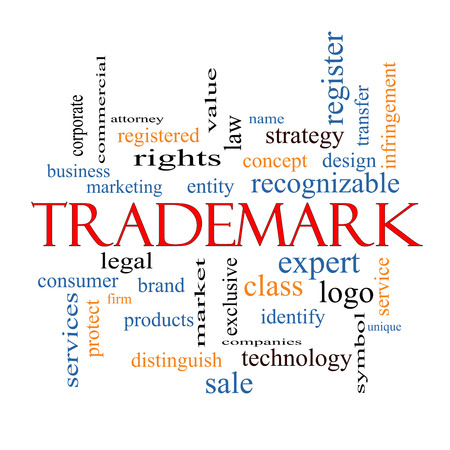 Trademark Word Cloud Concept with great terms such as brand, logo, legal and more. photo