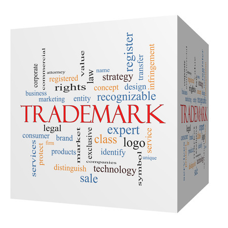 Trademark 3D cube Word Cloud Concept with great terms such as brand, logo, legal and more. Stock Photo