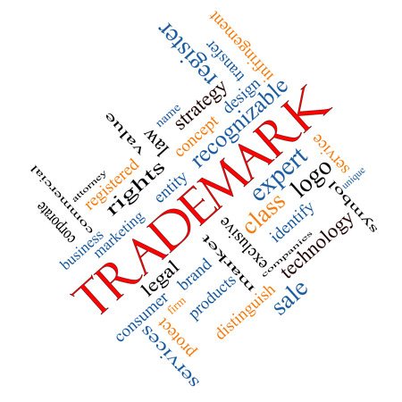 Trademark Word Cloud Concept angled with great terms such as brand, logo, legal and more. photo