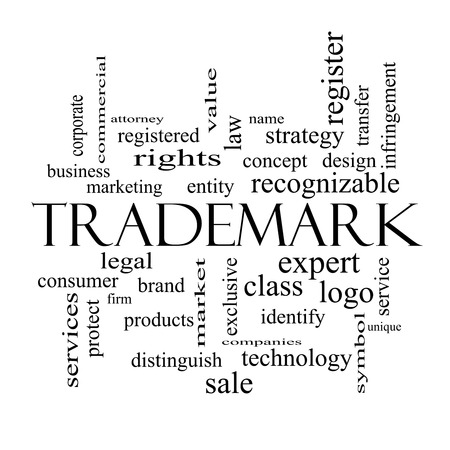 Trademark Word Cloud Concept in black and white with great terms such as brand, logo, legal and more. photo