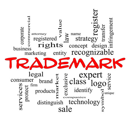 Trademark Word Cloud Concept in red caps with great terms such as brand, logo, legal and more. photo