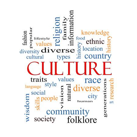 Cultura Palabra Nube Concepto en una pizarra con términos de calidad, como los valores, la diversidad, la lengua y más.