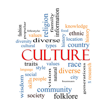 word cloud: Culture Word Cloud Concept on a Blackboard with great terms such as values, diversity, language and more.