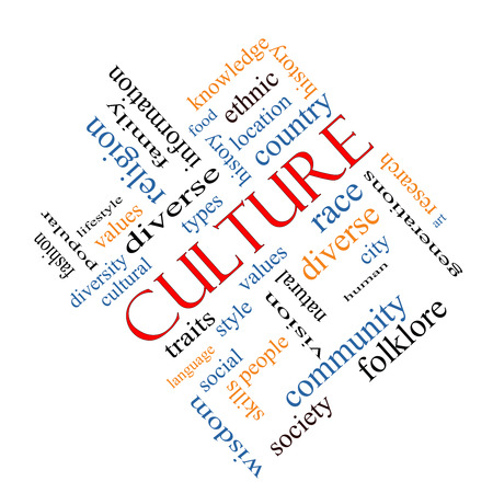 cultural history: Culture Word Cloud Concept angled on a Blackboard with great terms such as values, diversity, language and more.