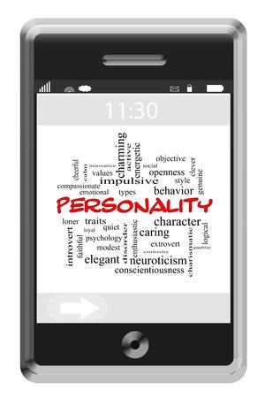 personalidad: Personalidad Palabra Nube Concepto en un teléfono con pantalla táctil con los términos tales como rasgos, tipos, comportamiento y más.