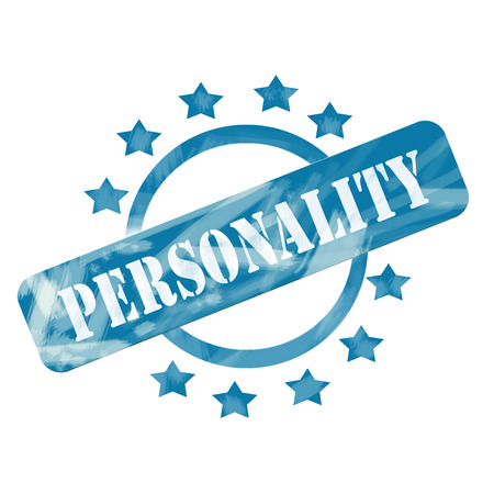 A blue ink weathered roughed up circle and stars stamp design with the word PERSONALITY on it making a great concept.