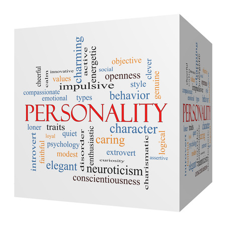 charismatic: Personality 3D cube Word Cloud Concept with great terms such as cheerful, character, behavior and more.