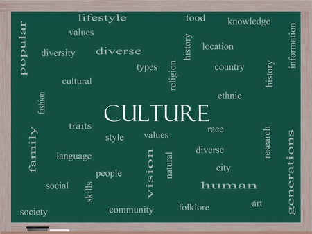 cultural history: Culture Word Cloud Concept on a Blackboard with great terms such as values, diversity, language and more.