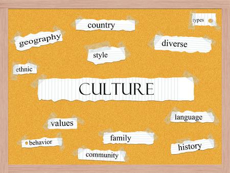 Culture Corkboard Word Concept met goede voorwaarden zoals land, stijl, divers en meer.