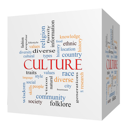 cultural history: Culture 3D cube Word Cloud Concept on a Blackboard with great terms such as values, diversity, language and more.