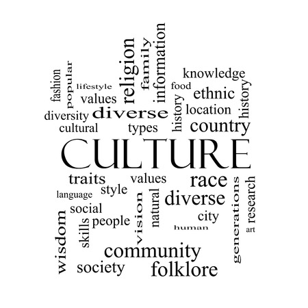 cultural history: Culture Word Cloud Concept in black and white on a Blackboard with great terms such as values, diversity, language and more. Stock Photo