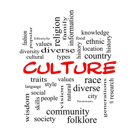 cultural history: Culture Word Cloud Concept in red caps on a Blackboard with great terms such as values, diversity, language and more. Stock Photo
