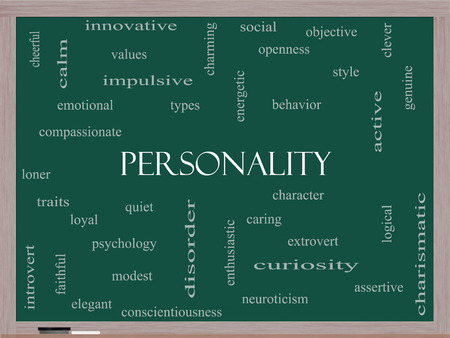 Personality Word Cloud Concept on a Blackboard with great terms such as cheerful, character, behavior and more. Archivio Fotografico