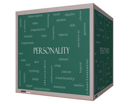 impulsive: Personality Word Cloud Concept on a 3D cube Blackboard with great terms such as cheerful, character, behavior and more.