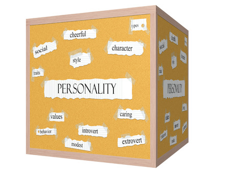 traits: Personality 3D cube Corkboard Word Concept with great terms such as style, traits, types and more.