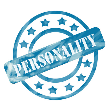 personalities: A blue ink weathered roughed up circles and stars stamp design with the word PERSONALITY on it making a great concept.