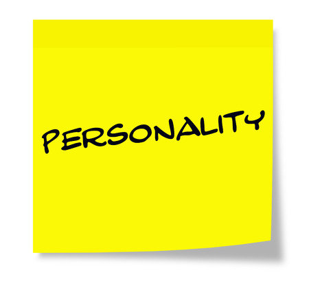 Personality written on a yellow paper Sticky Note making a great concept. Zdjęcie Seryjne