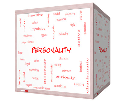 impulsive: Personality Word Cloud Concept on a 3D cube Whiteboard with great terms such as cheerful, character, behavior and more.