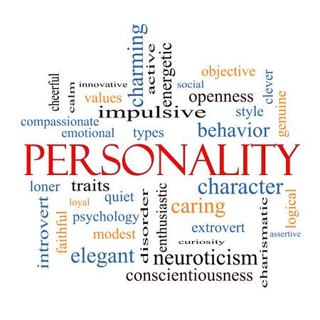 Personalità Nube Concetto Word con termini quali grandi allegro, carattere, comportamento e di più. Archivio Fotografico - 28046987
