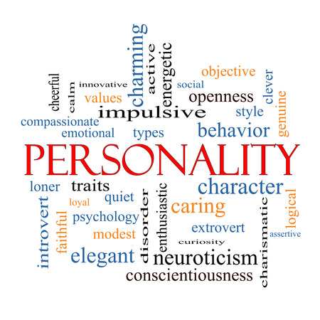 Personality Word Cloud Concept with great terms such as cheerful, character, behavior and more.