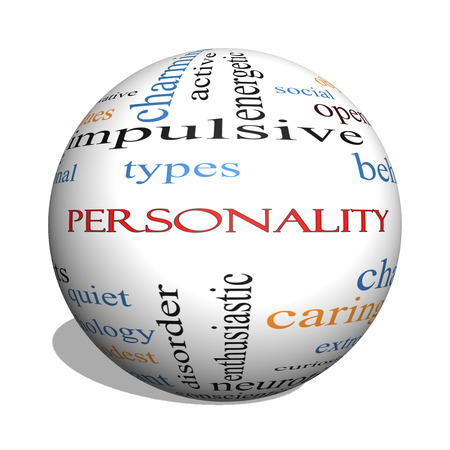 Personality 3D sphere Word Cloud Concept with great terms such as cheerful, character, behavior and more. Archivio Fotografico