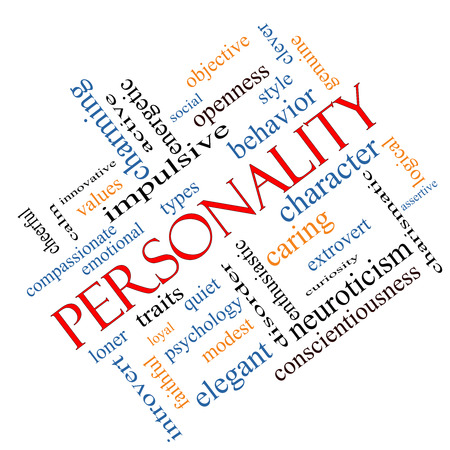 Personality Word Cloud Concept angled with great terms such as cheerful, character, behavior and more.