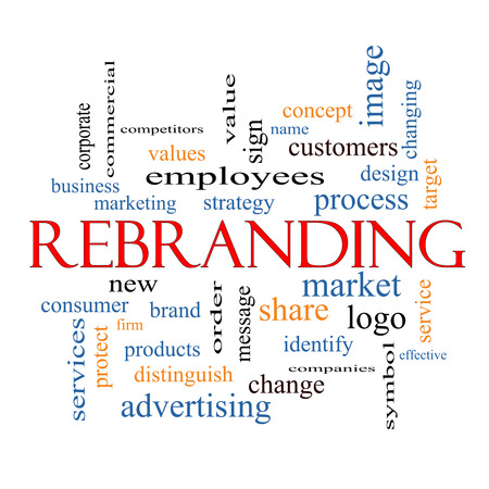 Rebranding Word Cloud Concept with great terms such as market, business, logo and more. photo