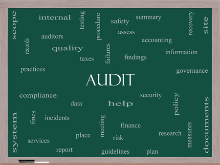 auditors: Audit Word Cloud Concept on a Blackboard with great terms such as finance, findings, data and more.
