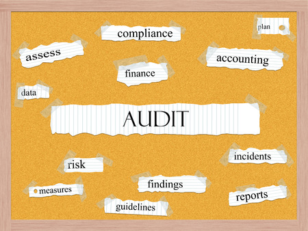 to assess: Audit Corkboard Word Concept with great terms such as finance, assess, findings and more.