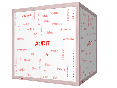 Audit Word Cloud Concept on a 3D cube Whiteboard with great terms such as finance, findings, data and more.