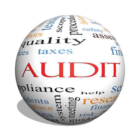 auditors: Audit 3D sphere Word Cloud Concept with great terms such as finance, findings, data and more.
