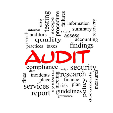 Audit Word Cloud Concept in red caps with great terms such as finance, findings, data and more.