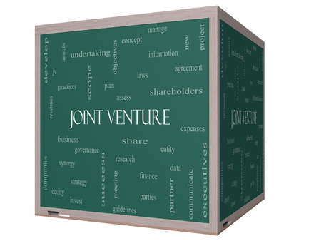 Joint Venture Word Cloud Concept on a 3D cube Blackboard with great terms such as business, partner, finance and more.